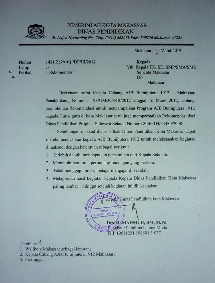 Rekomendasi Untuk Bumiputera  dari Dinas Pendidikan Kota Makassar