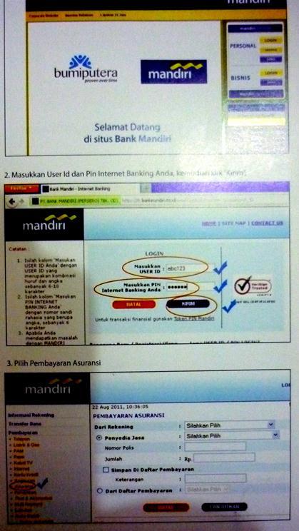Tata Cara E-Banking Pembayaran premi melalui mandiri.co.id