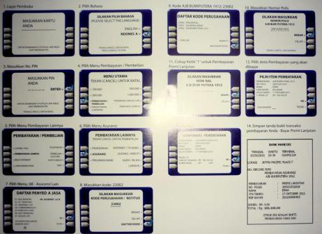 Tata Cara pembayaran premi di Menu ATM Bank Mandiri