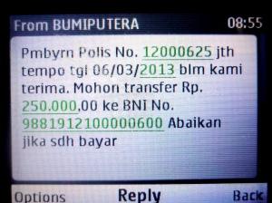 """Instruksi Via SMS untuk melakukan Pembayaran dari """"From BUMIPUTERA"""" sebagai validitas instruksi"""